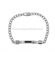 CURTAIN STEEL BRACELET WITH PLATE WITH BLACK ZIRCONIA