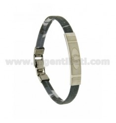 CAMOUFLAGE LEATHER BRACELET WITH TONES OF GREY SATIN PLATE &quotIRON HORSE&quot AND CLOSING STEEL 21 CM