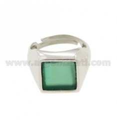 13X13 MM SQUARE RING WITH GREEN AGATE SILVER RHODIUM 925 TIT SIZE ADJUSTABLE FROM 12