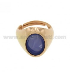 15X11 MM OVAL RING WITH BLUE AGATE SILVER PLATED ROSE GOLD 925 TIT SIZE ADJUSTABLE FROM 12