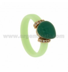 RUBBER RING IN &39GREEN PASTEL WITH CENTRAL STONE HYDROTHERMAL DROP SIDE AND BRIDGES WITH ZIRCONIA WITH CLOSING IN ROSE GOLD P