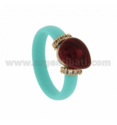 RUBBER RING IN &39GREEN TIFFANY STONE WITH CENTRAL HYDROTHERMAL DROP SIDE AND BRIDGES WITH ZIRCONIA WITH CLOSING IN ROSE GOLD