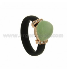 RUBBER RING IN &39BLACK STONE WITH CENTRAL HYDROTHERMAL DROP SIDE AND BRIDGES WITH ZIRCONIA WITH CLOSING IN ROSE GOLD PLATED A
