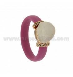 RUBBER RING &39PINK WITH CENTRAL STONE HYDROTHERMAL DROP SIDE AND BRIDGES WITH ZIRCONIA WITH CLOSING IN ROSE GOLD PLATED AG TI
