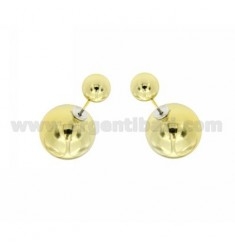PENDIENTES ORO COLOR DOBLE BOLA 7 MM Y 16 EN METAL