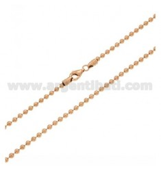 MILITARY BALL CHAIN MM 2.5 CM 50 IN SILVER ROSE GOLD PLATED 925 ‰