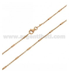 CABLE CHAIN WITH TUBE 18 MM DIAMOND IN AG ROSE GOLD PLATED TIT 925 ‰ CM 80
