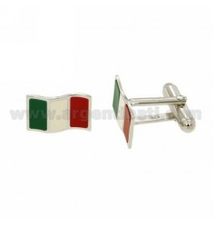 GEMINI MM ITALIAN FLAG 11X16 AG GLAZED IN RHODIUM TIT 925