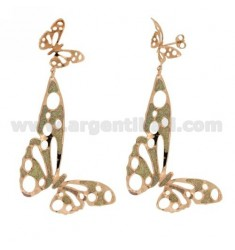 EARRINGS BRONZE GOLD PLATED PINK