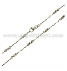 CHAIN LACE AND 3 BALLS 3 MM ALTERNATED IN SILVER RHODIUM TIT 925 ‰ CM 45