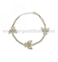 ROLO BRACELET 'DIAMOND DOUBLE WITH ATERNATES 3 ANGIOLETTI PRAYER PLATE IN AG RHODIUM-PLATED TIT 925 ‰