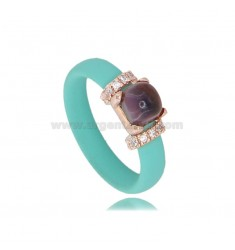 RING IN GREEN TIFFANY RUBBER WITH APPLICATION IN AG ROSE GOLD PLATED TIT 925 ‰, ZIRCONIA AND HYDROTHERMAL STONES ASSORTED COLORS