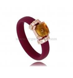 RUBBER RING WITH PINK GOLD PLATED APPLICATION IN AG TIT 925 ‰, ZIRCONIA AND HYDROTHERMAL STONES ASSORTED COLORS
