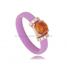 RING IN FUCHSIA RUBBER WITH APPLICATION IN AG ROSE GOLD PLATED TIT 925 ‰, ZIRCONIA AND HYDROTHERMAL STONES ASSORTED COLORS