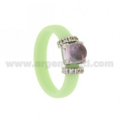 RUBBER RING IN &39GREEN PASTEL WITH APPLICATION IN RHODIUM AG TIT 925 ‰, ZIRCONIA AND STONES HYDROTHERMAL ASSORTED COLORS