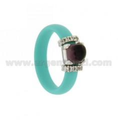 RUBBER RING IN &39GREEN TIFFANY WITH APPLICATION IN RHODIUM AG TIT 925 ‰, ZIRCONIA AND STONES HYDROTHERMAL ASSORTED COLORS