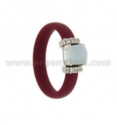 RING IN RUBBER 'VINACCIA WITH APPLICATION IN RHODIUM AG TIT 925 ‰ ZIRCONES AND STONES HYDROTHERMAL ASSORTED COLORS