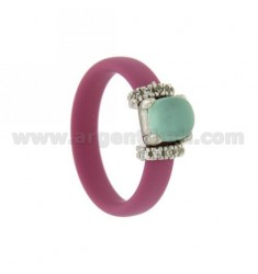RING IN RUBBER 'FUCHSIA WITH APPLICATION IN RHODIUM AG TIT 925 ‰ ZIRCONES AND STONES HYDROTHERMAL ASSORTED COLORS