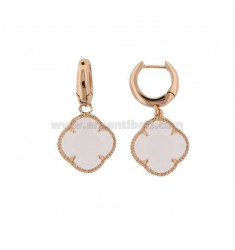 EARRING BIRTH IN SILVER PLATED ROSE GOLD TITLE 925 ORE AND SMALL FLOWER PENDANT IN HYDROTHERMAL STONE WHITE SATIATO 8