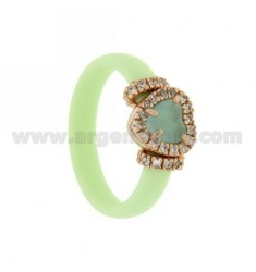 RUBBER RING IN &39GREEN PASTEL WITH APPLICATION TO HEART IN ROSE GOLD PLATED AG TIT 925 ‰, HYDROTHERMAL ZIRCONIA STONES AND VA