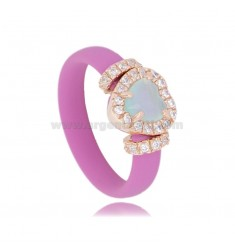 RING IN FUCHSIA RUBBER WITH HEART APPLICATION IN AG ROSE GOLD PLATED TIT 925 ‰, ZIRCONIA AND HYDROTHERMAL STONES VARIOUS COLORS