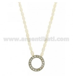 RIVER PEARLS NECKLACE 42 CM WITH CENTRAL LOCKING IN A CIRCLE AND PERFORATED AG RHODIUM 925 TIT AND RHINESTONE