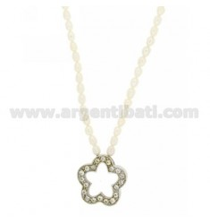 RIVER PEARLS NECKLACE 42 CM WITH CENTRAL FLOWER AND CLOSING IN PERFORATED AG RHODIUM 925 TIT AND RHINESTONE