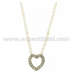 RIVER PEARLS NECKLACE 42 CM WITH A HEART PIERCED CENTRAL AND CLOSING IN RHODIUM AG 925 TIT AND RHINESTONE