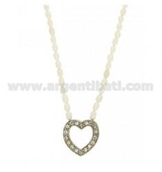 RIVER Perlenhalskette 42 cm mit einer Heart Ohr CENTRAL und Schließen in 925 TIT RHODIUM AG und Strass