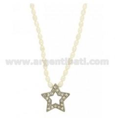 RIVER Perlenhalskette 42 cm mit einem Sternchen durch zentrale und Schließen in 925 TIT RHODIUM AG und Strass