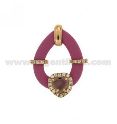 DROP PENDANT WITH FUCHSIA RUBBER AND APPLIC. HEART WITH HYDROTHERMAL STONES AND ZIRCONS IN SILVER PL ROSE GOLD TIT 925