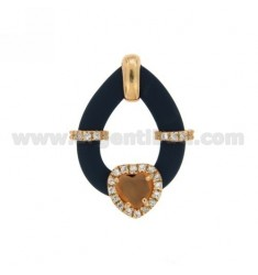 DROP PENDANT WITH BLUE RUBBER AND APPLIC. HEART WITH HYDROTHERMAL STONES AND ZIRCONS IN SILVER PL ROSE GOLD TIT 925