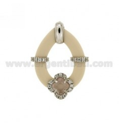 DROP PENDANT WITH IVORY RUBBER AND APPLIC. FLOWER WITH HYDROTHERMAL STONES AND ZIRCONS IN SILVER RHODIUM TIT 925