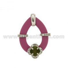 DROP PENDANT WITH FUCHSIA RUBBER AND APPLIC. FLOWER WITH HYDROTHERMAL STONES AND ZIRCONS IN SILVER RHODIUM TIT 925