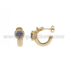 HOOP EARRINGS WITH RUBBER &39IVORY AND APPLIC. HYDROTHERMAL HEART WITH STONES AND ZIRCONIA SILVER ROSE GOLD PL TIT 925