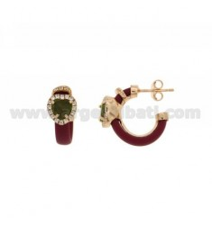 HOOP EARRINGS WITH RUBBER &39APPLIC. MARC AND HEART WITH STONES AND HYDROTHERMAL ZIRCONIA SILVER ROSE GOLD PL TIT 925