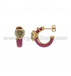 HOOP EARRINGS WITH RUBBER &39PINK HEART WITH STONES AND APPLIC. HYDROTHERMAL AND ZIRCONIA SILVER ROSE GOLD PL TIT 925