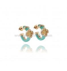 HOOP EARRINGS WITH RUBBER &39GREEN AND TIFFANY APPLIC. HYDROTHERMAL FLOWER WITH STONES AND ZIRCONIA SILVER ROSE GOLD PL TIT 92