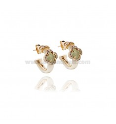HOOP EARRINGS WITH RUBBER &39APPLIC. IVORY FLOWER WITH STONES AND HYDROTHERMAL ZIRCONIA SILVER ROSE GOLD PL TIT 925