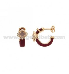 HOOP EARRINGS WITH RUBBER &39APPLIC. MARC AND FLOWER WITH STONES AND HYDROTHERMAL ZIRCONIA SILVER ROSE GOLD PL TIT 925