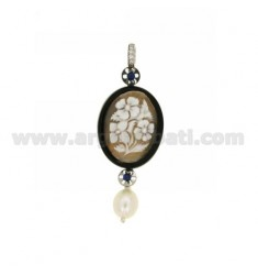 CAMEO PENDANT WITH FLOWERS OVAL RESIN, WITH PEARL AND CRYSTAL ELEMENTS IN STEEL AND TIT AG 925