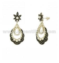 Ohrringe mit MARKASIT und Perlen in TIT AG 925 ‰