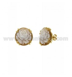 LOBO CAMEO EARRINGS FLOWERS ROUND WITH CURLS 20 MM SILVER GOLD PLATED TIT 925