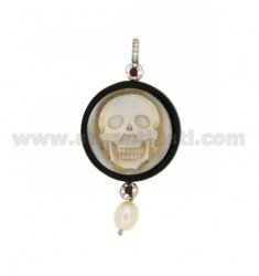 CAMEO PENDANT ROUND RESIN SKULL WITH PEARL, RHINESTONE AND WITH SWAROVSKI ELEMENTS IN STEEL AND RHODIUM AG TIT 925