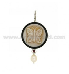 CAMEO PENDANT BUTTERFLY ROUND RESIN WITH PEARL, RHINESTONE AND WITH SWAROVSKI ELEMENTS IN STEEL AND RHODIUM AG TIT 925