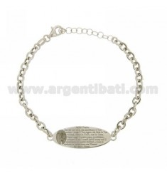 34X11 MM OVAL PLATE BRACELET OUR FATHER IN RHODIUM AG TIT 925 ‰ 16 TO 19 CM