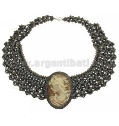 DRAHT UND CRYSTAL Halskette in grau mit Cameo und Zentralverriegelung Metall
