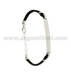 RUBBER BRACELET 18-21 CM WITH PLATE AND FOUR-LEAF CLOVER IN AG RHODIUM TIT 925 ‰
