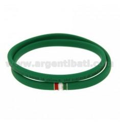 Gummi.Armband für &quotgrüne &39Hymn von Italien&quot und schloss mit einem FLAG im Rhodium AG TIT 925
