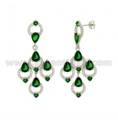A GYPSY EARRINGS WITH SWAROVSKI WHITE AND GREEN IN RHODIUM AG TIT 925